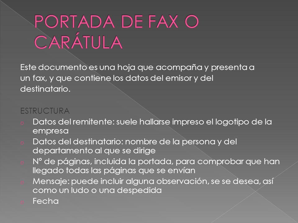 PORTADA DE FAX O CARÁTULA