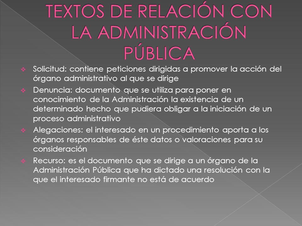 TEXTOS DE RELACIÓN CON LA ADMINISTRACIÓN PÚBLICA