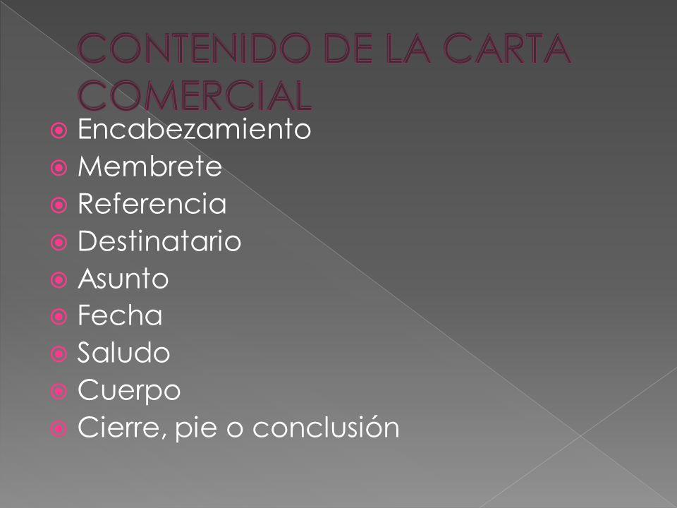 CONTENIDO DE LA CARTA COMERCIAL