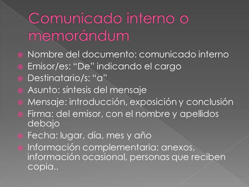 Comunicado interno o memorándum