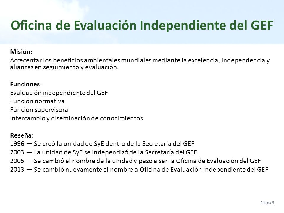 La evaluaci n en el gef y m dulo de capacitaci n en ppt for Oficina nacional de evaluacion