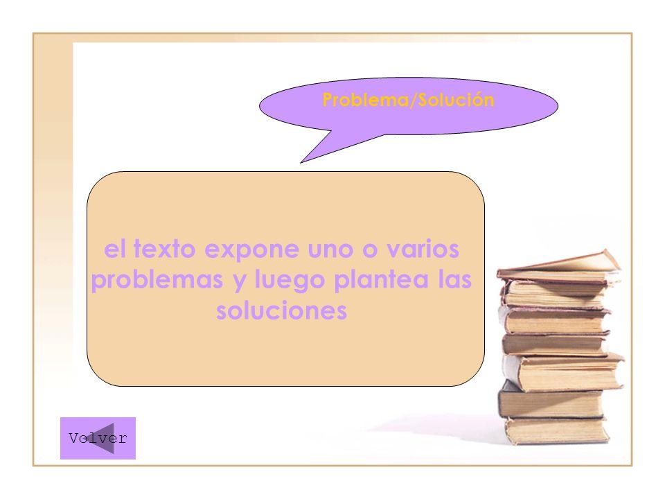 el texto expone uno o varios problemas y luego plantea las