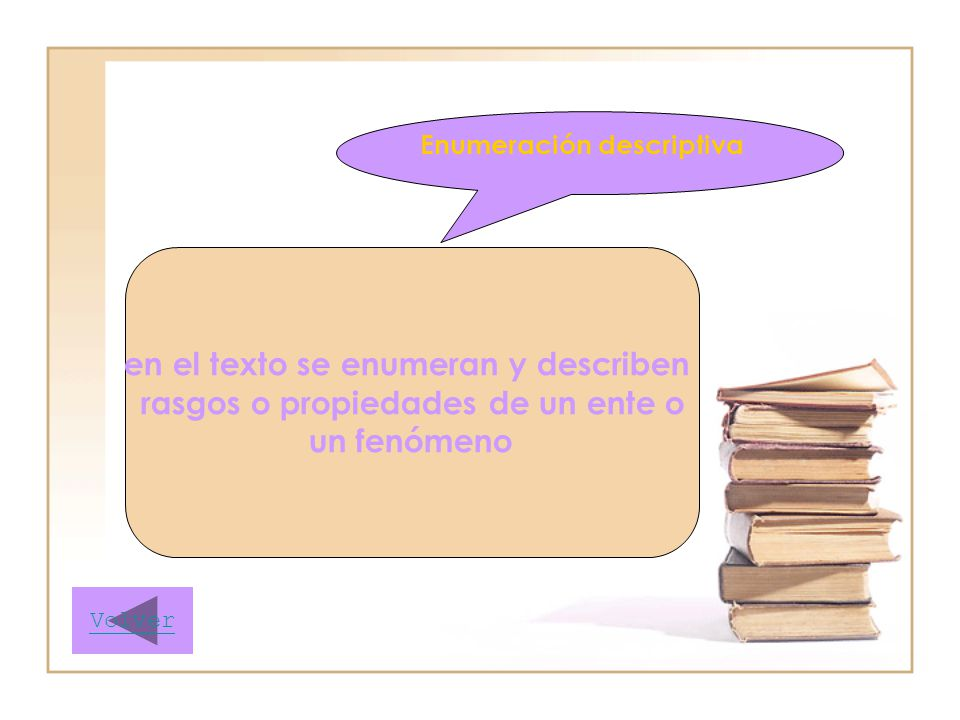 en el texto se enumeran y describen rasgos o propiedades de un ente o