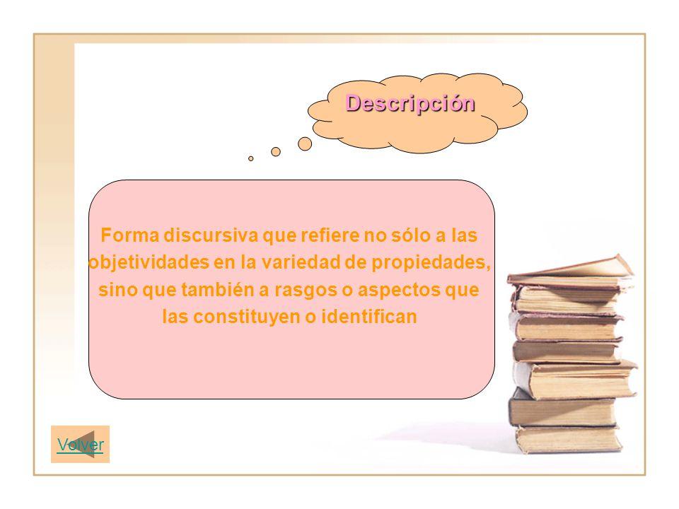 Descripción Forma discursiva que refiere no sólo a las