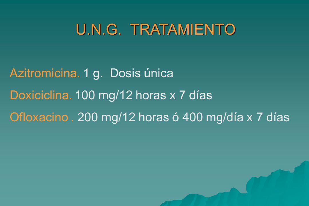 U.N.G. TRATAMIENTO Azitromicina. 1 g. Dosis única