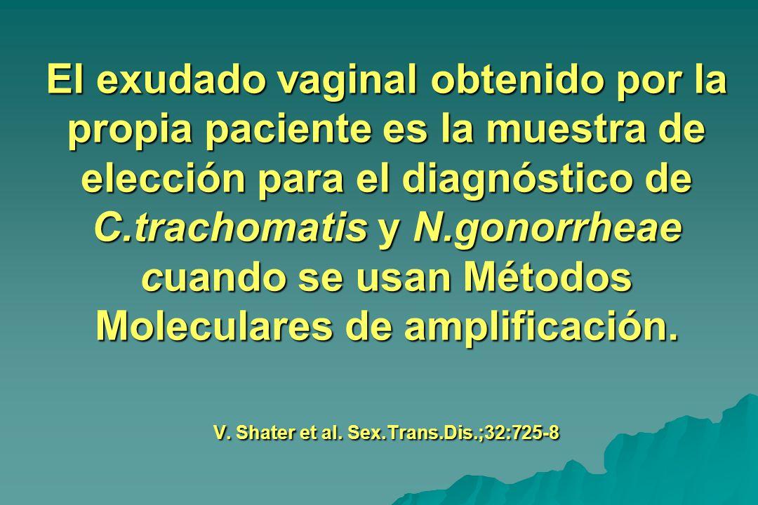 El exudado vaginal obtenido por la propia paciente es la muestra de elección para el diagnóstico de C.trachomatis y N.gonorrheae cuando se usan Métodos Moleculares de amplificación.