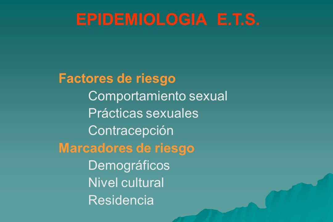 EPIDEMIOLOGIA E.T.S. Factores de riesgo Comportamiento sexual