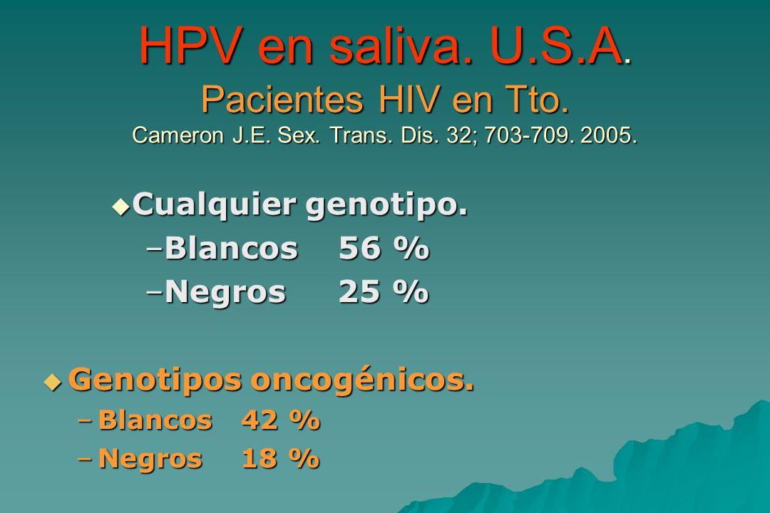 HPV en saliva. U. S. A. Pacientes HIV en Tto. Cameron J. E. Sex. Trans