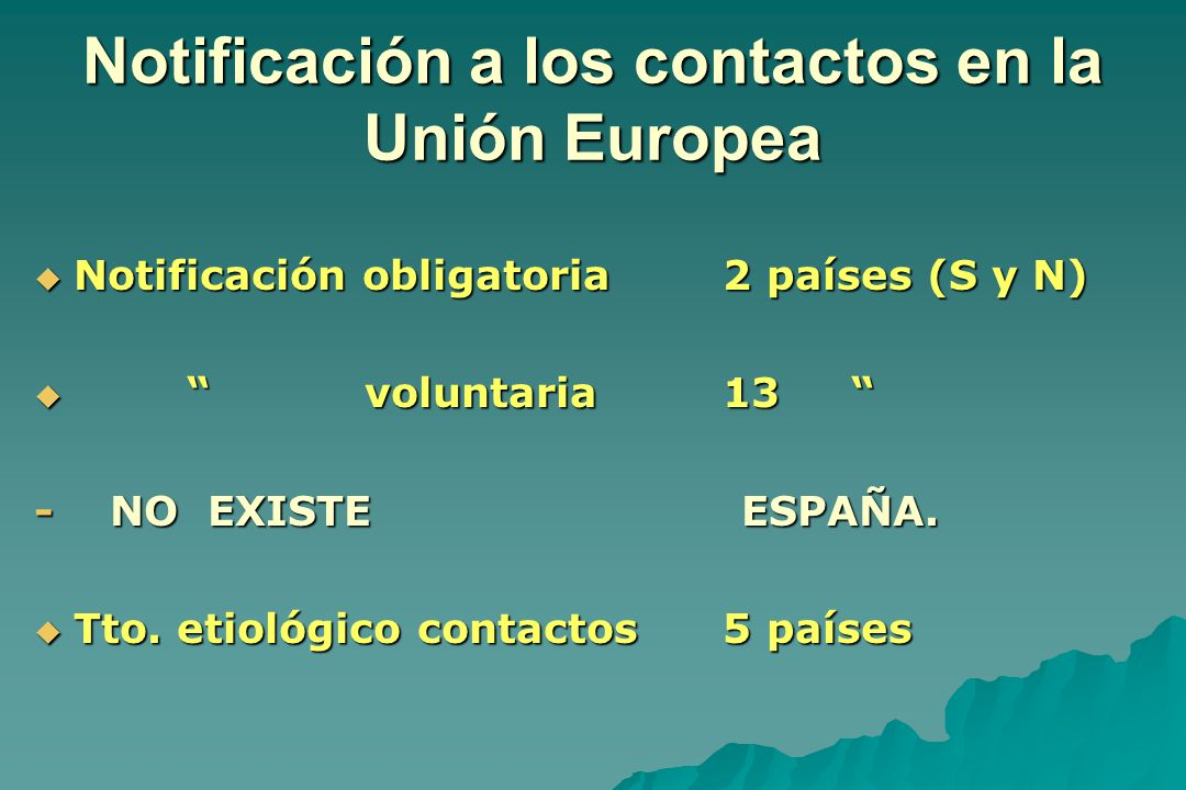 Notificación a los contactos en la Unión Europea
