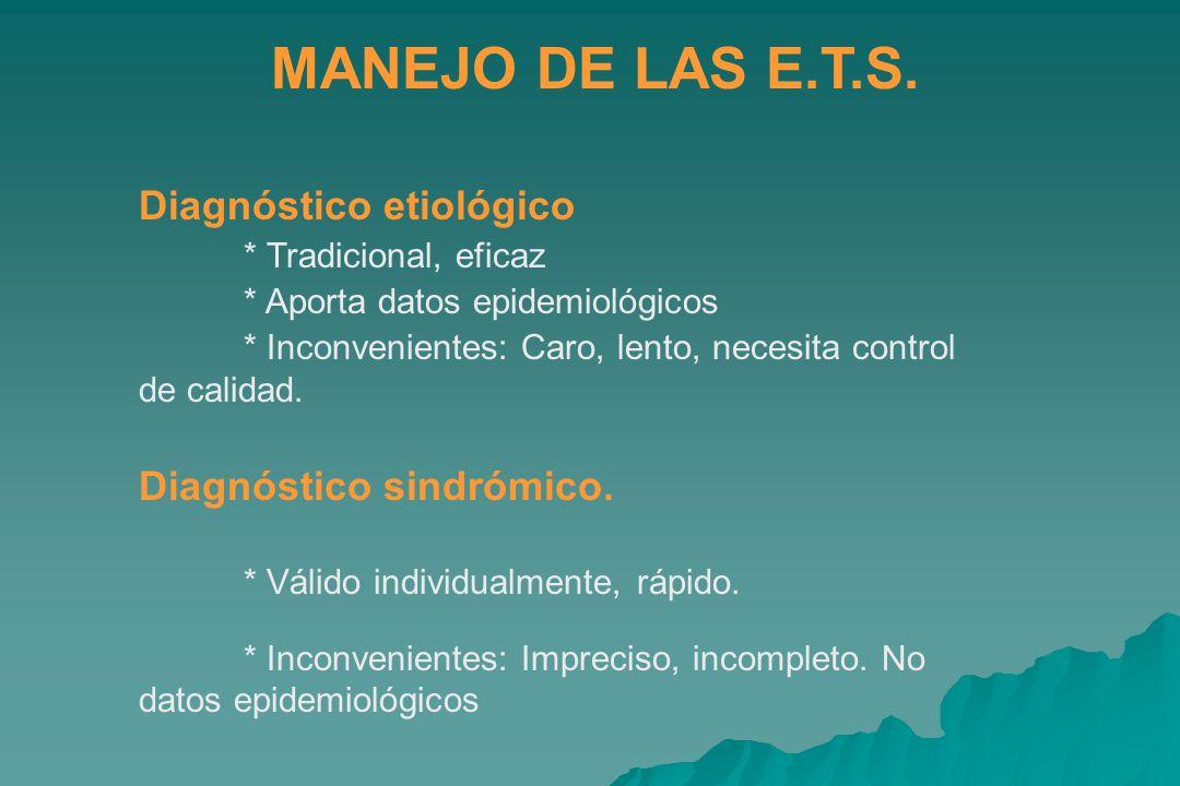 MANEJO DE LAS E.T.S. Diagnóstico etiológico Diagnóstico sindrómico.