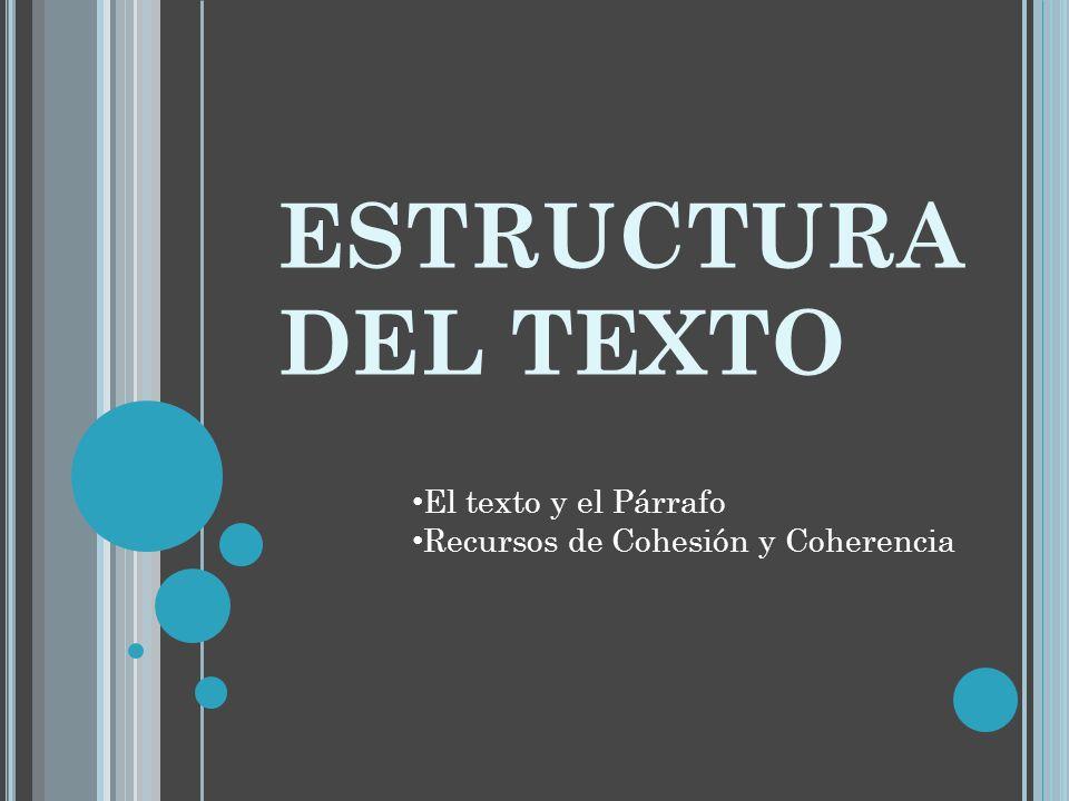Estructura Del Texto El Texto Y El Párrafo