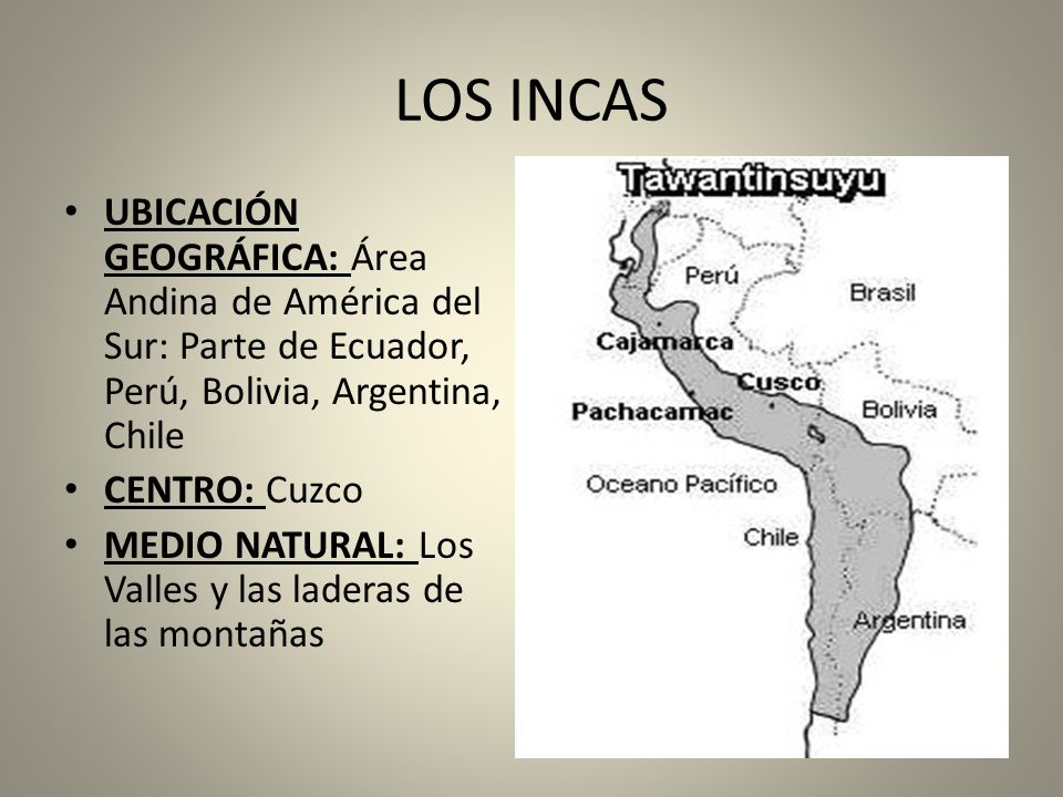 LOS INCAS UBICACIÓN GEOGRÁFICA: Área Andina de América del Sur: Parte de Ecuador, Perú, Bolivia, Argentina, Chile.