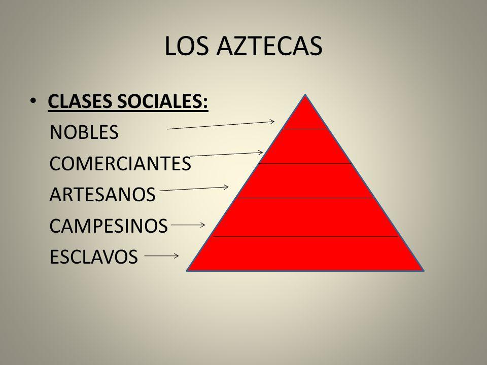 LOS AZTECAS CLASES SOCIALES: NOBLES COMERCIANTES ARTESANOS CAMPESINOS