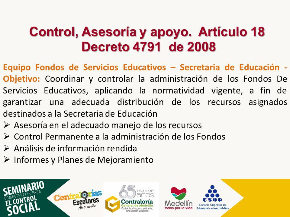 Control, Asesoría y apoyo. Artículo 18