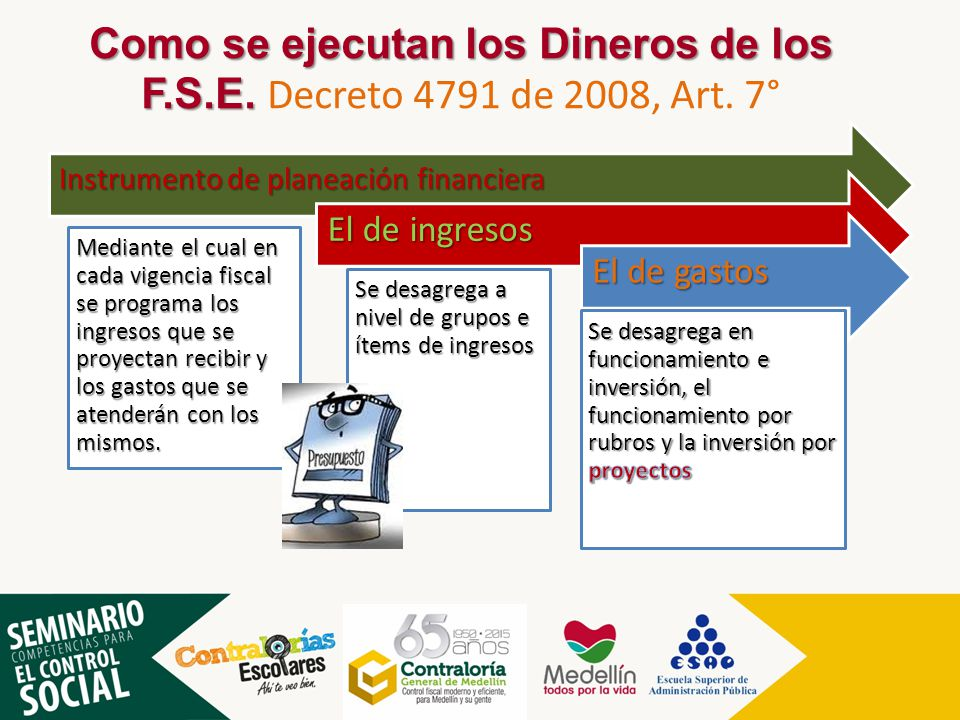 Como se ejecutan los Dineros de los F. S. E. Decreto 4791 de 2008, Art
