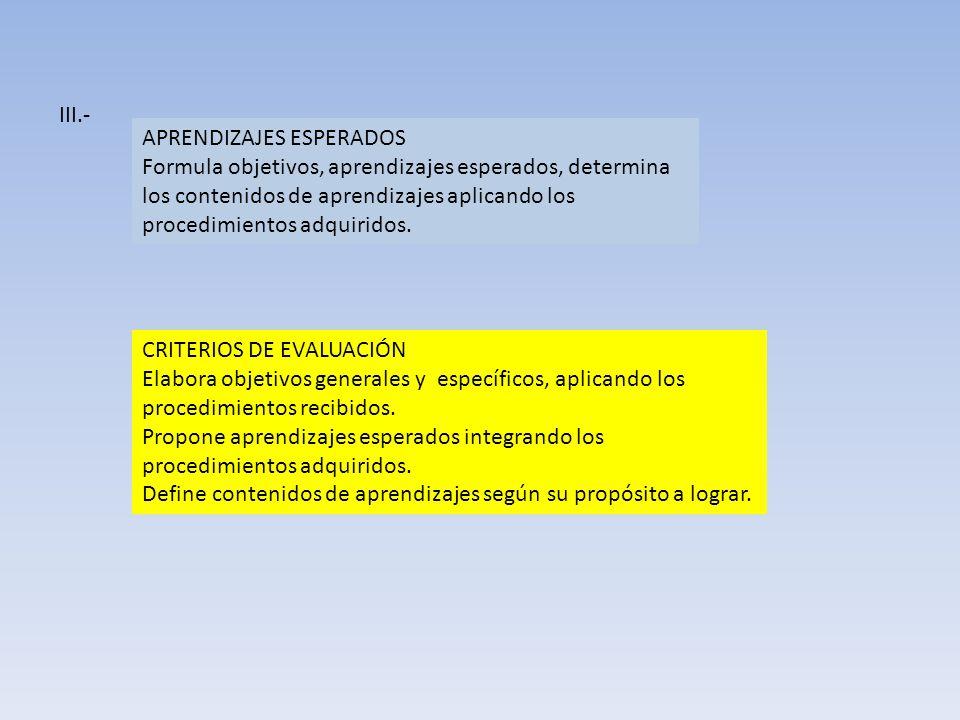 III.- APRENDIZAJES ESPERADOS.