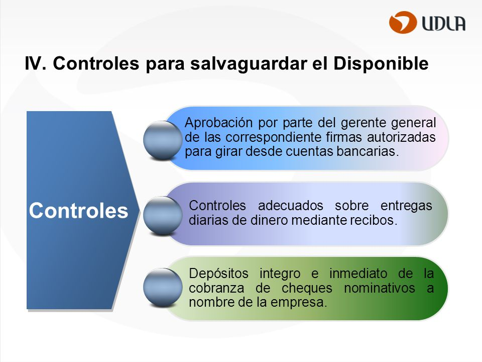 IV. Controles para salvaguardar el Disponible