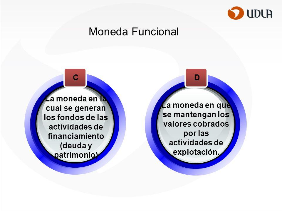 Moneda Funcional La moneda en la cual se generan los fondos de las actividades de financiamiento (deuda y patrimonio)