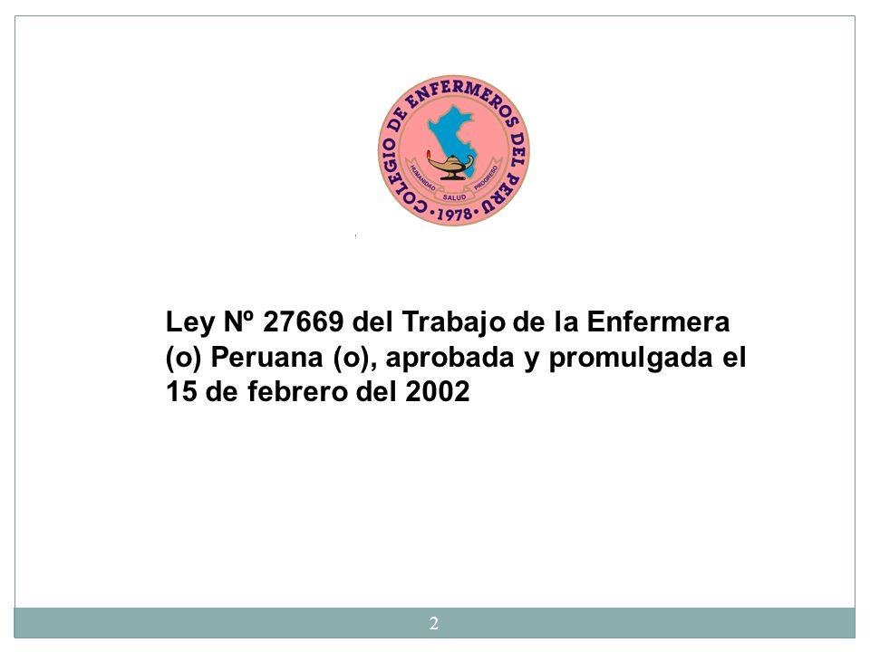 Ley Nº 27669 del Trabajo de la Enfermera (o) Peruana (o), aprobada y promulgada el 15 de febrero del 2002