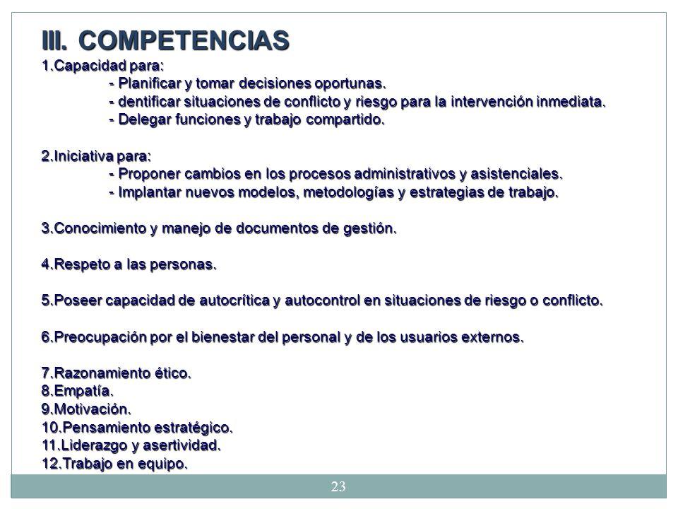 III. COMPETENCIAS 1. Capacidad para: