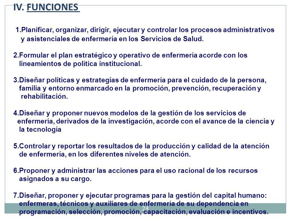 IV. FUNCIONES 1.Planificar, organizar, dirigir, ejecutar y controlar los procesos administrativos.