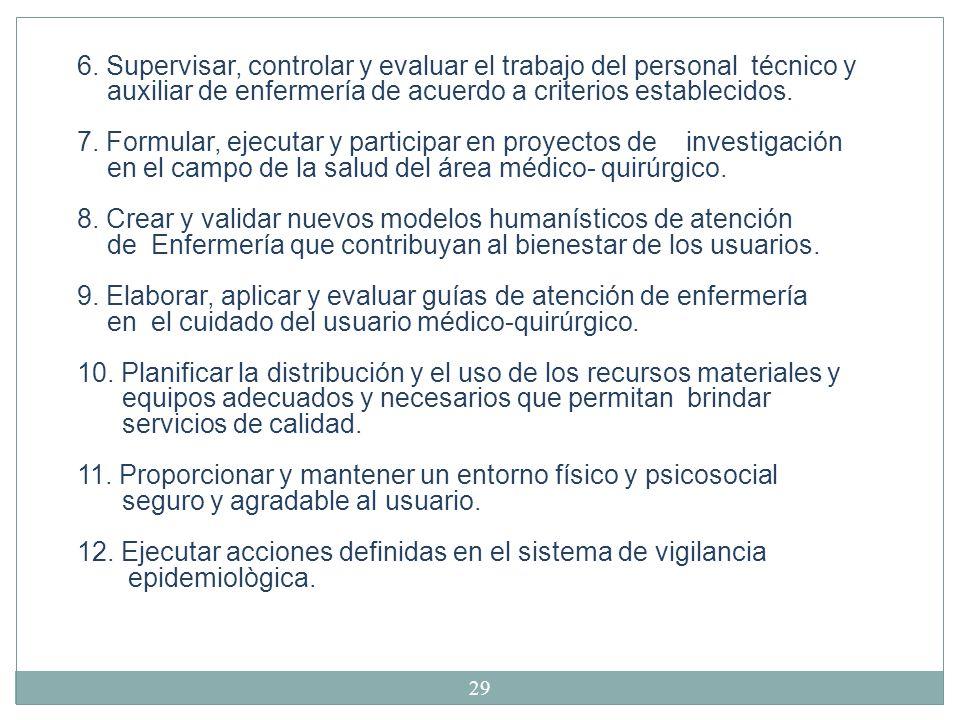 6. Supervisar, controlar y evaluar el trabajo del personal técnico y
