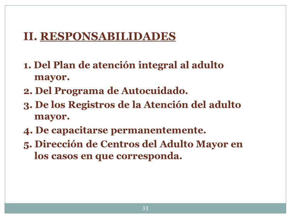 II. RESPONSABILIDADES 1. Del Plan de atención integral al adulto mayor. 2. Del Programa de Autocuidado.