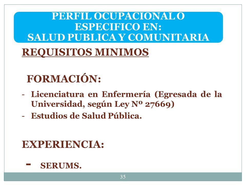 PERFIL OCUPACIONAL O ESPECIFICO EN: SALUD PUBLICA Y COMUNITARIA