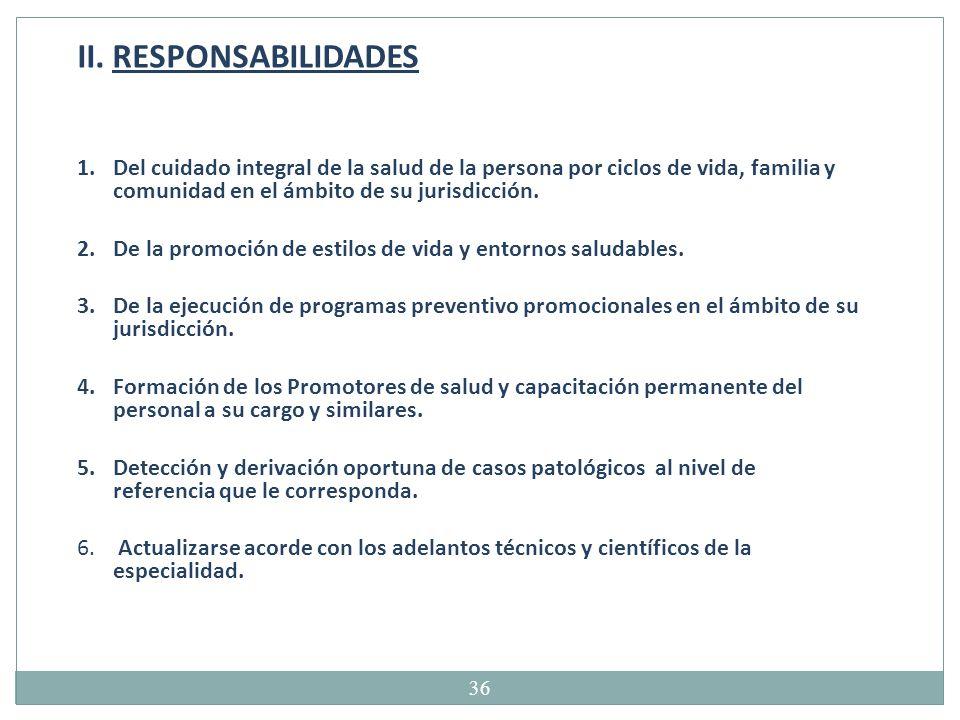 II. RESPONSABILIDADES Del cuidado integral de la salud de la persona por ciclos de vida, familia y comunidad en el ámbito de su jurisdicción.