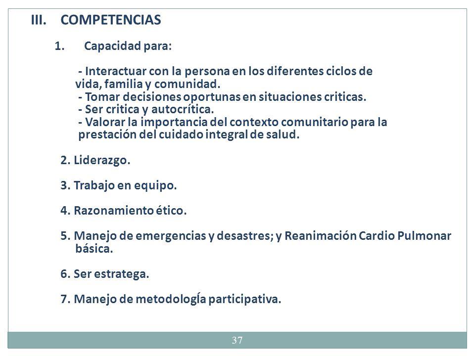 COMPETENCIAS Capacidad para:
