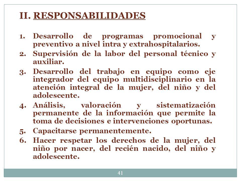 II. RESPONSABILIDADES Desarrollo de programas promocional y preventivo a nivel intra y extrahospitalarios.