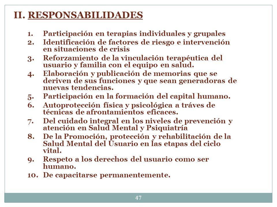 II. RESPONSABILIDADES Participación en terapias individuales y grupales