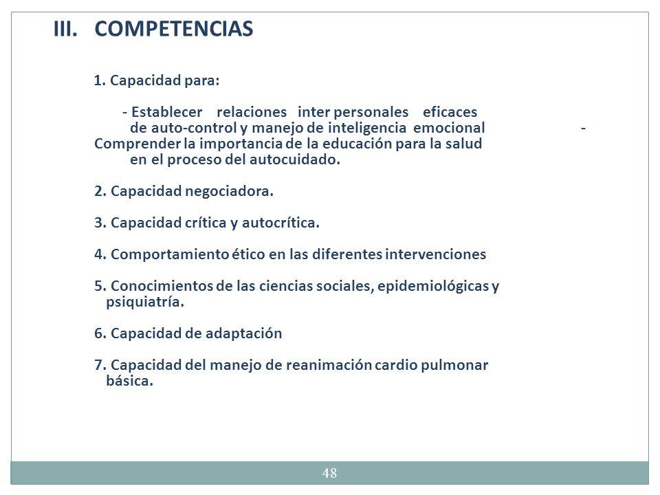 COMPETENCIAS 1. Capacidad para:
