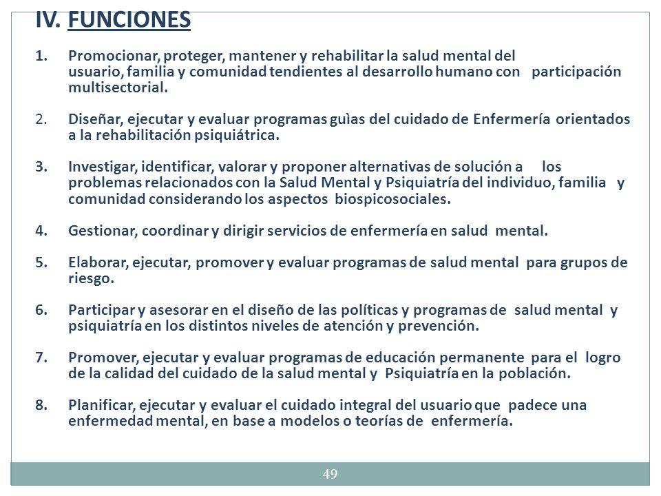 IV. FUNCIONES Promocionar, proteger, mantener y rehabilitar la salud mental del.