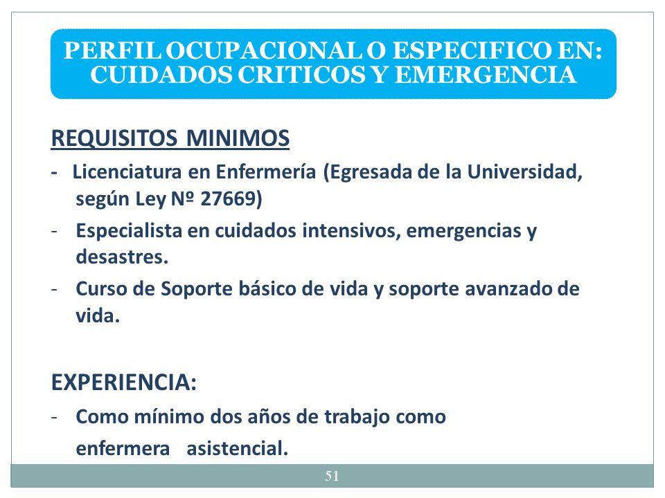 PERFIL OCUPACIONAL O ESPECIFICO EN: CUIDADOS CRITICOS Y EMERGENCIA