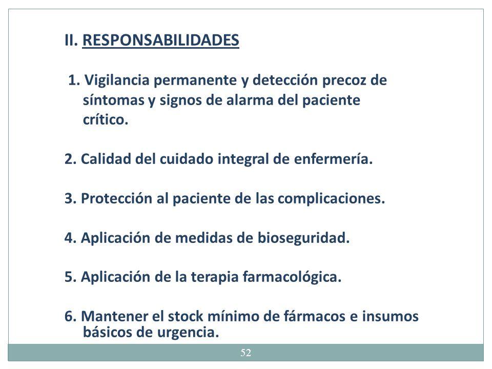 II. RESPONSABILIDADES 1. Vigilancia permanente y detección precoz de