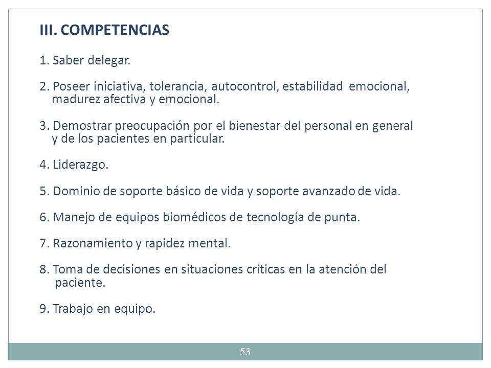 III. COMPETENCIAS 1. Saber delegar.