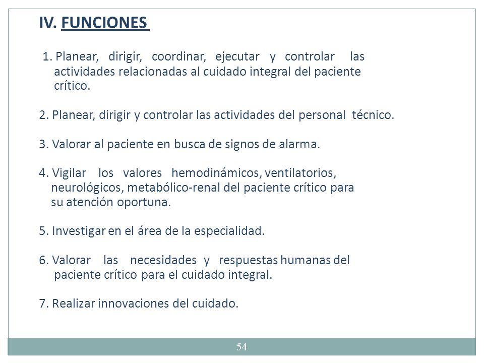 IV. FUNCIONES 1. Planear, dirigir, coordinar, ejecutar y controlar las