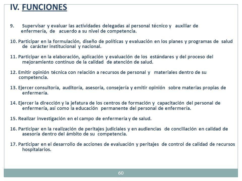 IV. FUNCIONES Supervisar y evaluar las actividades delegadas al personal técnico y auxiliar de.