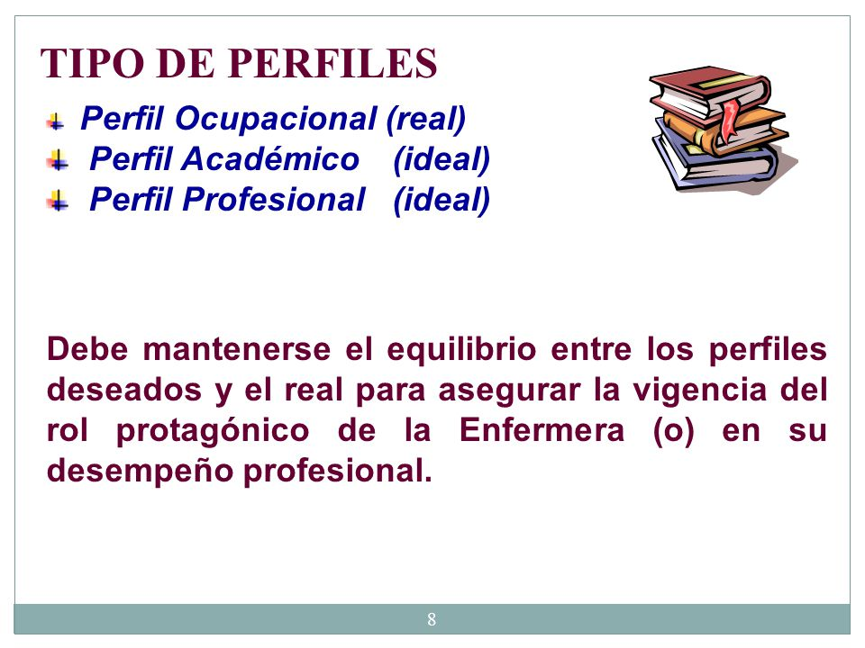 TIPO DE PERFILES Perfil Académico (ideal) Perfil Profesional (ideal)