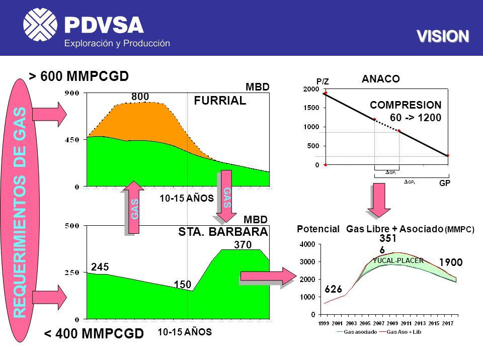VISION REQUERIMIENTOS DE GAS > 600 MMPCGD < 400 MMPCGD FURRIAL