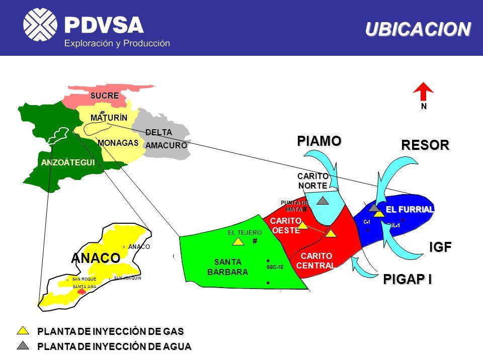 UBICACION PIAMO RESOR IGF ANACO PIGAP I PLANTA DE INYECCIÓN DE GAS