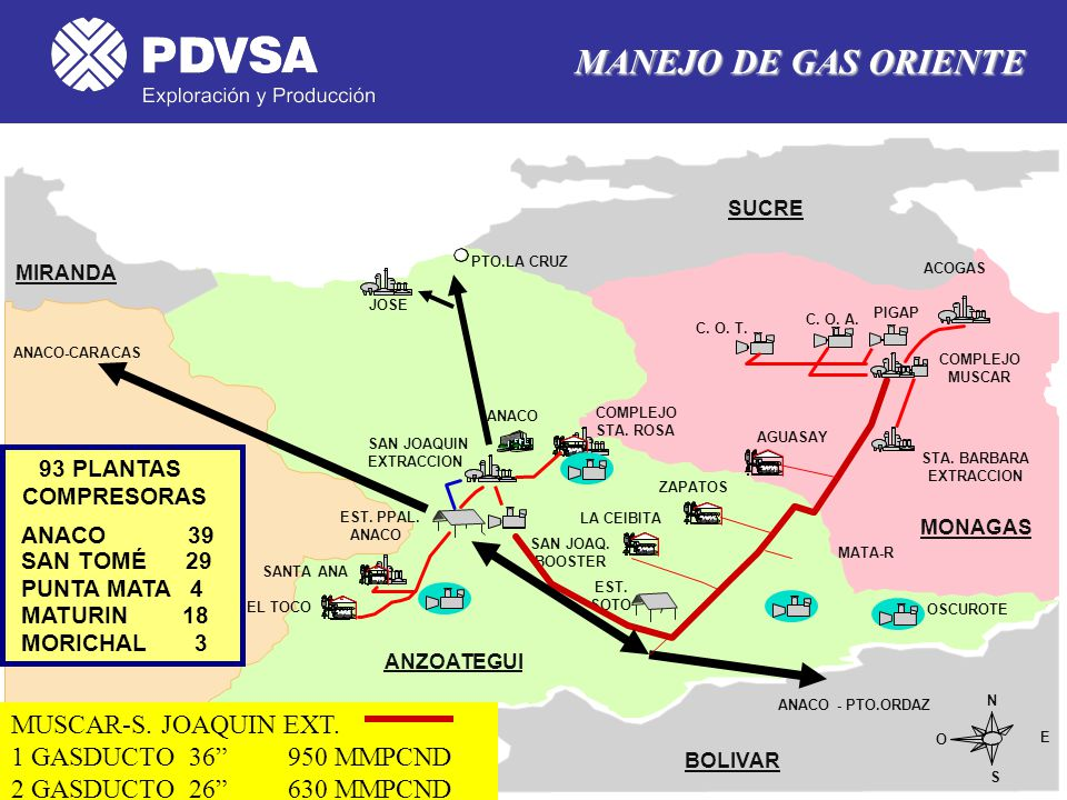 MANEJO DE GAS ORIENTE MUSCAR-S. JOAQUIN EXT. 1 GASDUCTO 36 950 MMPCND