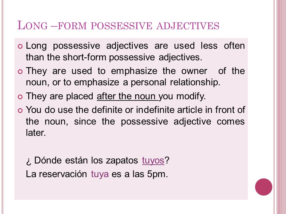Los posesivos - Before nouns ppt descargar