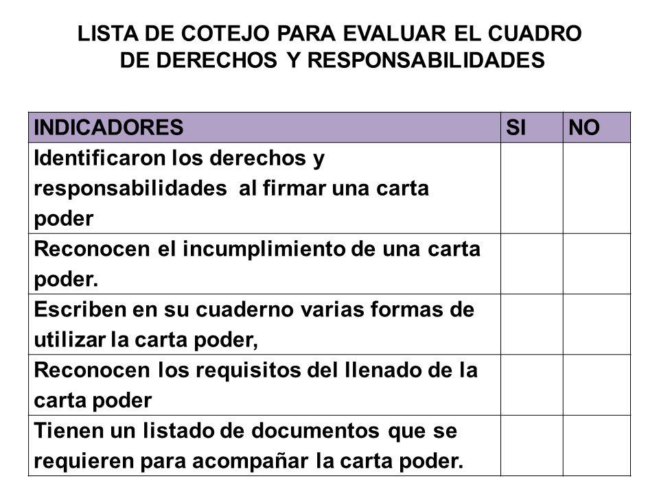LISTA DE COTEJO PARA EVALUAR EL CUADRO DE DERECHOS Y RESPONSABILIDADES