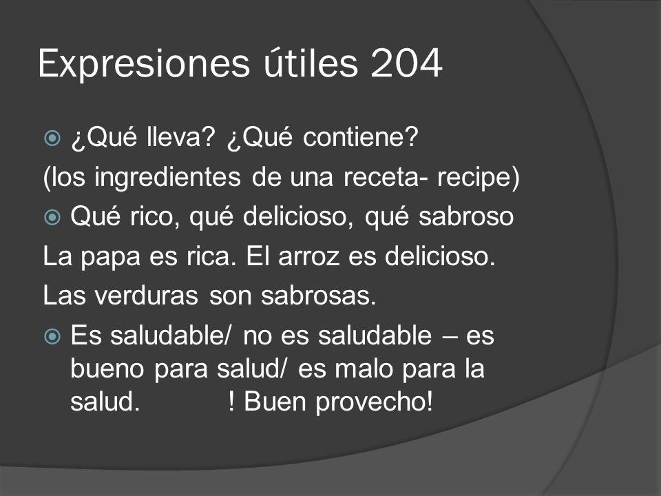 Expresiones útiles 204 ¿Qué lleva ¿Qué contiene