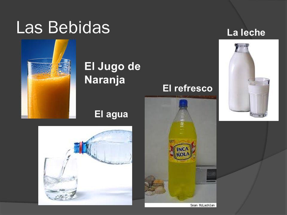 Las Bebidas La leche El Jugo de Naranja El refresco El agua