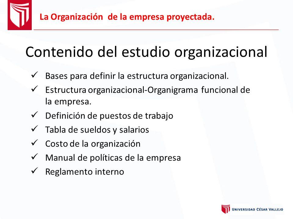 Contenido del estudio organizacional