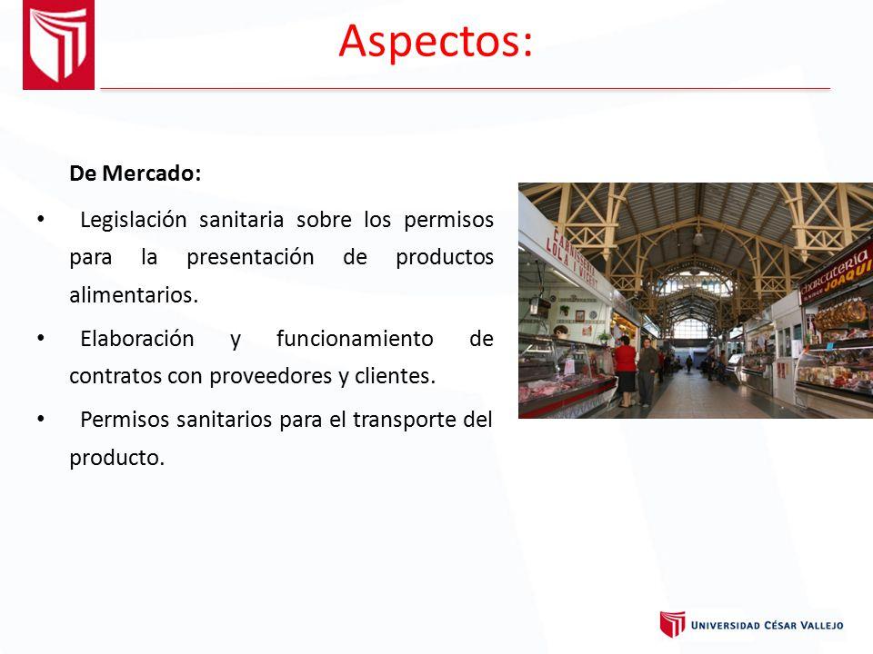 Aspectos: De Mercado: Legislación sanitaria sobre los permisos para la presentación de productos alimentarios.