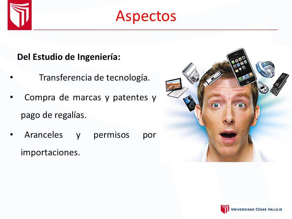 Aspectos Del Estudio de Ingeniería: Transferencia de tecnología.